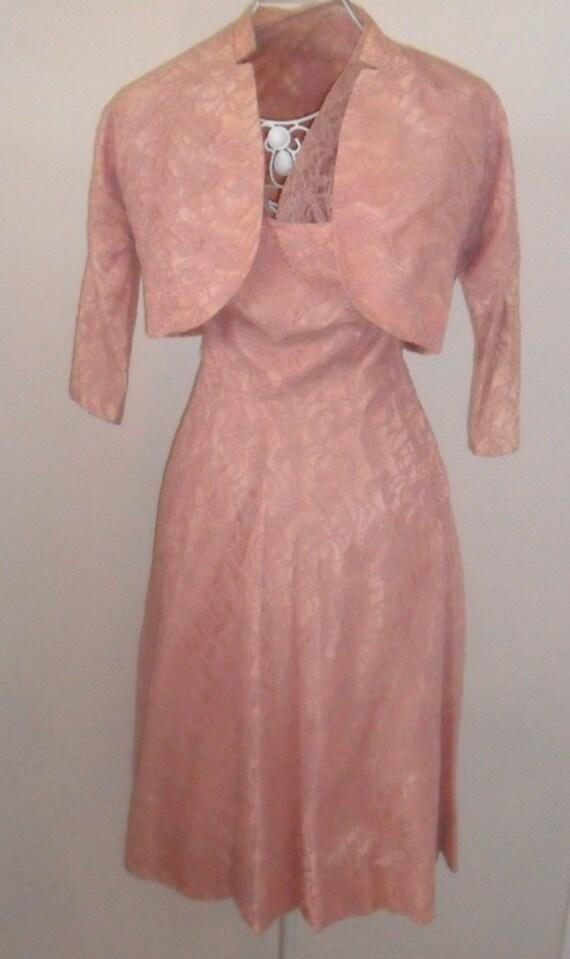 Gorgeous Vintage 50s Pink Lace Dress with Matching Bolero Jacket