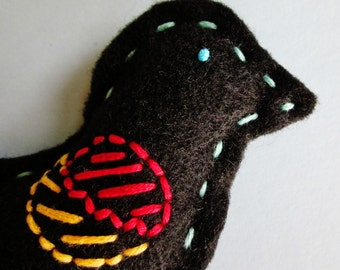 Red Wing Blackbird Toy (Chirp) Handmade With Black Felt And Embroidered In Blue, Soft Orange, Red And Turquoise