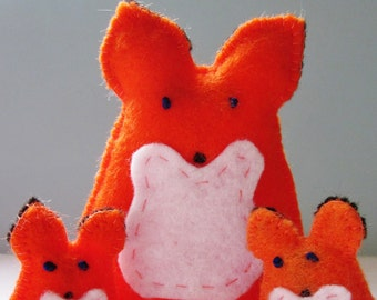 Red Fox Family Handsewn In Orange Felt Woodland Creatures
