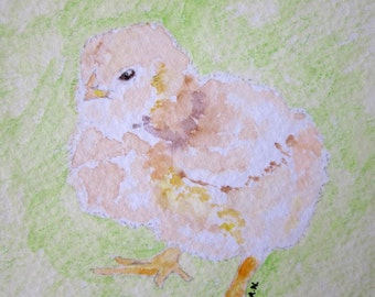 Baby Chick Original Watercolor Painting