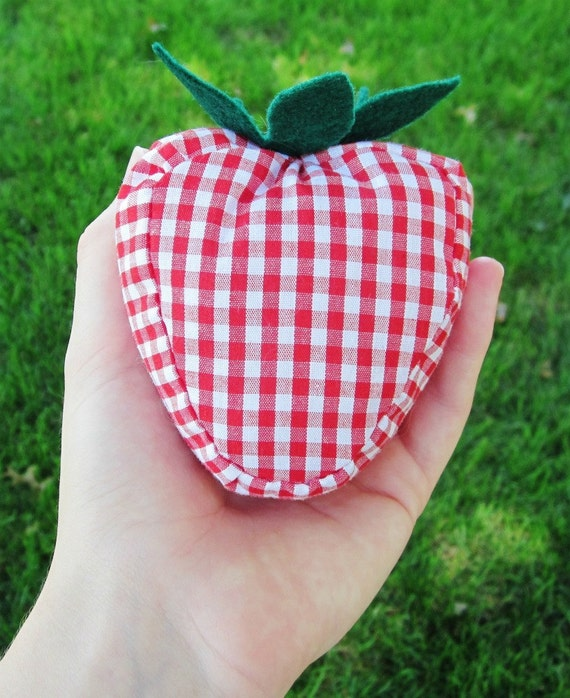 Strawberry Heart Plush Baby Rattle In Red Gingham and Green Felt