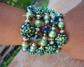 LAST Set Five Bangle Bracelet Set Blue Green Rhinestone, Czech Crystal and Satin Pearl Beads- MERMAID'S TALE