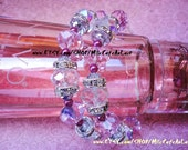 Candy Pink, Hematite Fire Polished Czech Crystal, SIlver Diamond Rhinestone Rondelle Beaded Hoop Earrings- NUVO