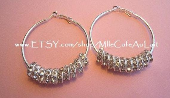 Basketball Wives Celebrity Inspired Crystal Rhinestone Beaded Hoop Earrings- Silver LIL DIVAS Small