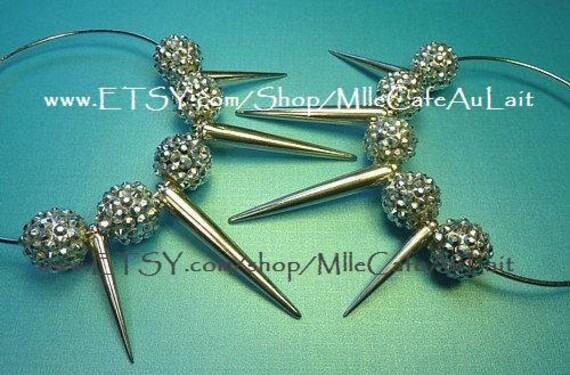 SALE Basketball Wives Celebrity Inspired Rhinestone Crystal Spike Hoop Earrings- VAMP GLAM Silver