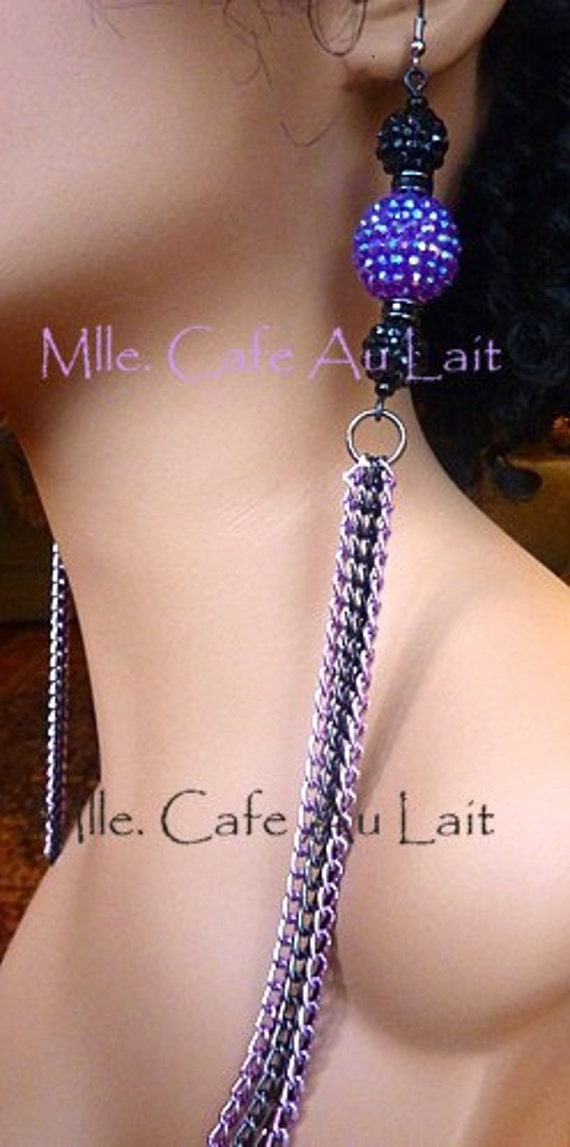 LAST Pair CLEARANCE Basketball Wives Lavender/Violet Rhinestone Beaded Balls and Chain Earrings- Ultra VIOLET