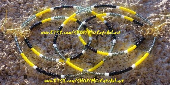 CLEARANCE Aztec Tribal Color Block Beaded Hoop Earrings - TRIBALICIOUS (Yellow Gray Black)