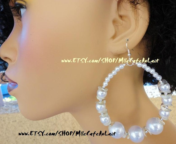 Shiny Glass Pearl, Textured SIlver Plated Brass Petals Beaded Hoop Earrings- PETAL PEARLS Silver