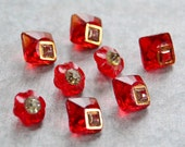 Vintage Button Lot - Small Red Glass Mix 764