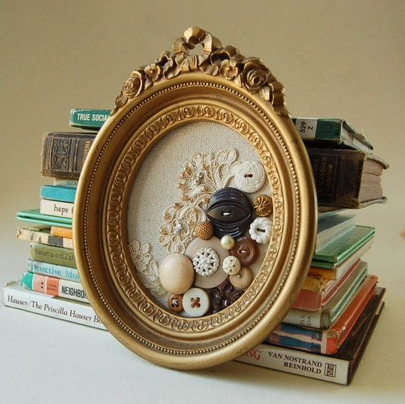 Framed Button and Lace Textile Art Collage
