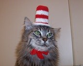 Cat In The Hat Hat For A Cat, Crocheted Dr. Seuss Costume
