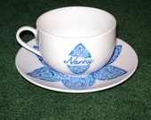 Customised Handdrawn and painted cup and saucer- Dark blue (lapis)