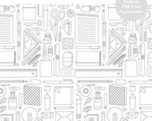 Normal and Seamless Pattern - Office Supplies