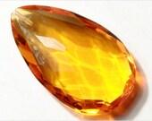 Teardrop (1) 40 mm Antique vintage Czech faceted topaz Dangle Drop glass Jewel Bead Pendant E711-140