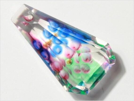 """Antique vintage Czech faceted Rainbow Flower Dangle Drop glass Bead Pendant 1"""" E711-106"""
