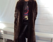 70s Fur Coat LONG Boho Hippie Sheared Beaver Coat Small / vintage 70s /  Leather Wrap Belt, Leather Trim