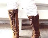 Vintage FESTIVAL Boho Lace Up Boots Size 9, 9.5