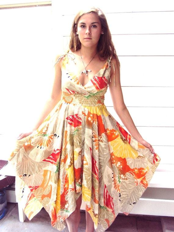 SALE - Vintage Silk Gypsy Boho Dress - Hanky Hem - 100% Silk -  S/M