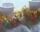 Rag Tag Creations - Yellow, Green and Pink Embellished Socks, Girls Small, Shoe Size 6-10.5