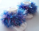 Rag Tag Creations- Blue and Purple Beaded Embellished Socks, Girls Size 18 - 36 months, Shoe Size 4-6