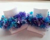 Rag Tag Creations - Beaded Socks, Purple and Aqua, Girls Size Small, Shoe Size 6 - 10 1/2