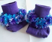 Rag Tag Creations - Exclusive Purple Beaded Socks, Girls Medium, Shoe Size 10.5 - 4
