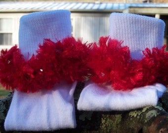 All Sizes Available! Rag Tag Creations - Red Beaded Embellished Socks, Pageant Socks