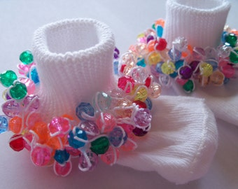 All Sizes Available!, Rag Tag Creations - Beaded Socks, Multi Colored, Pageant Socks