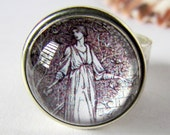 Ancient Woman Ring - Chunky Black and White Wide Band - Fashion Glass Domed Ring