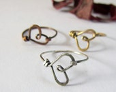 Wire Heart Rings. copper, brass, sterling silver filled, three rings offer