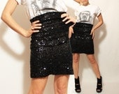 SALE High Waist Pencil Skirt in Sequin Black Tiers- Smalla