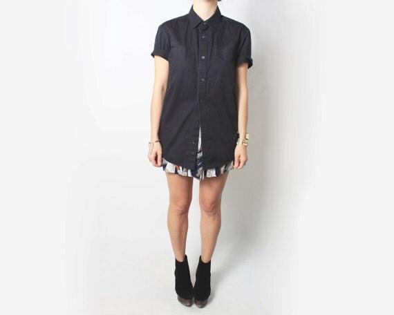Vintage T Shirt, Men's, Short Sleeve Button Up - medium / large