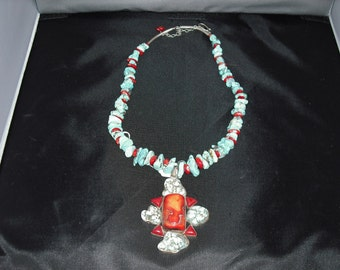 Redcoral and Turquoise Necklace