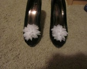 White Chiffon Flower Shoe Clips, perfect for Wedding