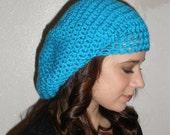 Handmade Crochet Oversize Slouch Beret in Electric Blue