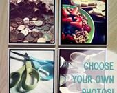 Custom Instagram Photo Ceramic Coasters - Set of Four - Use your own photos
