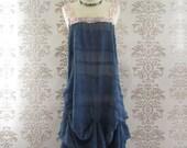 ODETTA Embroidery Lace Sculptural Romantic Prussian Blue Long Dress Custom Size
