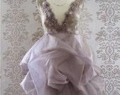 EXELLE Mocha Lavender Floral Vintage Lace Romantic Ruffle Sculptural Short Dress Custom Size S/M/L