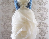 Wedding Gown Wedding Dress Reception Dress Alternative Wedding Dress :  MADEIRA Blue Floral Drape Dress Custom Size