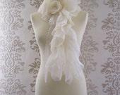 REINATA Cream Ruffle Lace Pearl Flower Romantic Long Scarf