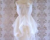 NOVA Cream Lace Rose Mohair Lariat Romantic Sculptural Strapless Long Dress Size S/M