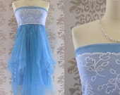 Party Dress Handmade Holiday Fashion Cocktail Dress Evening Dress Clothing Women : AZURIKA Floral Lace Strapless Blue Long Dress Custom Size