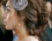 ELINA Pearls Sequins Beads Chiffon Silver Grey Flower Romantic Hair Fascinator