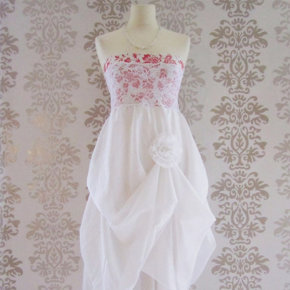 RUBIQUE Embroidery Floral Lace Romantic Sculptural Strapless Ivory White Long Dress Size S/M
