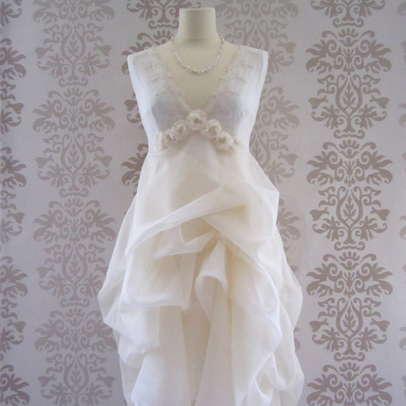 MADEILENA Cream Floral Embroidery Intricate Fine Lace Romantic Sculptural Long Dress Custom Size S/M/L