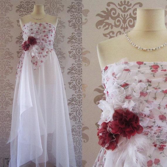 Long Wedding Gown Wedding Dress Reception Dress Alternative Wedding Dress : COQUELICO Red White Liberty Floral Romantic Dress Size S/M