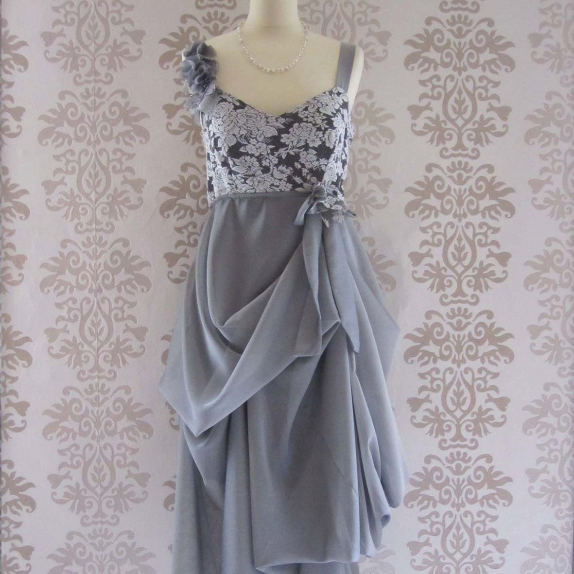 ELENORE Silver Grey Floral Lace Ruffles Bow Romantic