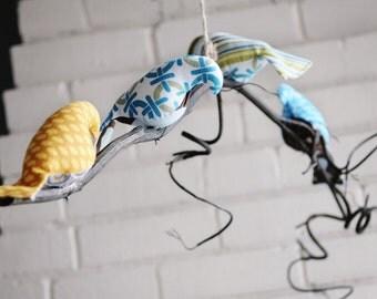 Single tier curly branch bird mobile - CUSTOM ORDER