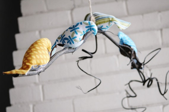 Single tier curly branch bird mobile - CUSTOM ORDER
