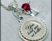 Personalized famous quote saying Necklace silver rolo chain, heart, crystal, love,You had me at hello , Say It Softly  TREASURES COLLECTION